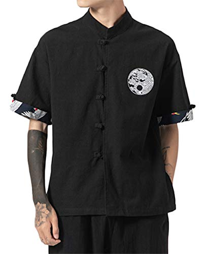 GUOCU Hombres Camisa Japonés Cardigan Yukata Estilo Kimono con Bordado Vintage Holgado Casual Camiseta con Hebilla Negro L
