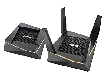 ASUS AX6100 WiFi 6 Gaming Mesh Router  RT-AX92U 2 Pack  - Tri-Band Gigabit Wireless Internet Router Gaming & Streaming AiMesh Compatible Included Lifetime Internet Security Adaptive QoS