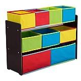 Delta Children Deluxe Multi-Bin Toy Organizer with Storage Bins, Dark Chocolate/Primary Colored Bins