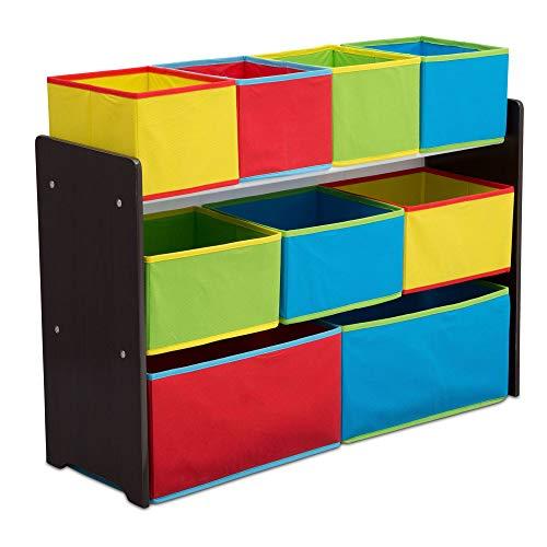 Delta Children Deluxe Multi-Bin Toy Organizer with Storage Bins, Dark Chocolate/Primary Colored Bins