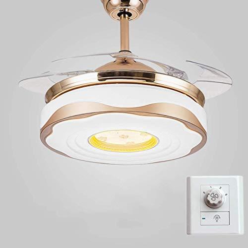 Iluminación colgante minimalista moderna Lámpara industrial moderna retro / LED ventiladores de techo invisibles con lámpara, 42in luces de ventilador Araña de control de pared con ventilador eléctric