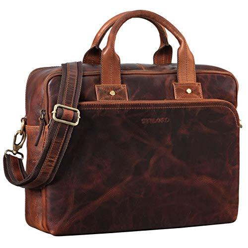 STILORD 'Héctor' Maletín o Bolsa de Profesor o Negocios Grande de Cuero Vintage Bolso Mensajero para portátiles de 15,6' de auténtica Piel, Color:Bordeaux - marrón