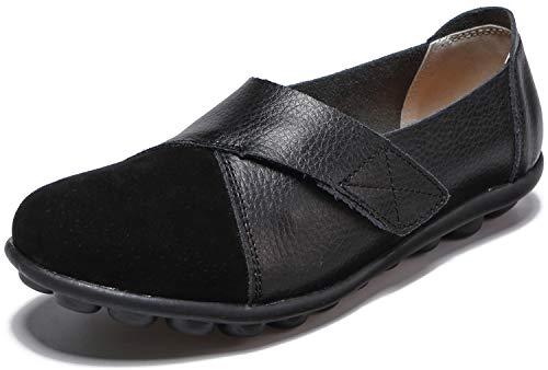 Yooeen Zapatos Mocasines Cómodos para Mujer Calzado de Trabajo Antideslizante Velcro Loafers Zapatos de Conducción 🔥