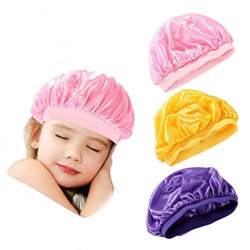 Goddess Aalto 3 Pieces Kids Satin Bonnets Wide-brimmed Elastic Caps Sleeping Night Hats for Children Toddler Baby Curly Natural Hair(Pink,Purple,Yellow)