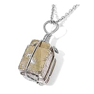 Stainless Steel Healing Pyrite Wire Wrapped Pendant Necklace