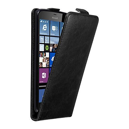Cadorabo Hülle für Nokia Lumia 640 XL in Nacht SCHWARZ - Handyhülle im Flip Design mit Magnetverschluss - Case Cover Schutzhülle Etui Tasche Book Klapp Style