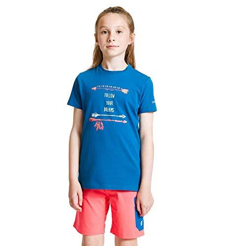 Dare 2b Kinder DKT426 08LC03 Go Beyond\' Printed Cotton Casual T-Shirts/Polo-Hemden/Westen, blau (Petrol Blue), 3-4