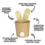 6 süße Osternester zum Befüllen mit Hasenohren zum Basteln - Naturbraune Becher als Osterhasen dekorieren inkl. Pompon - Komplettset - Osterdeko 2020