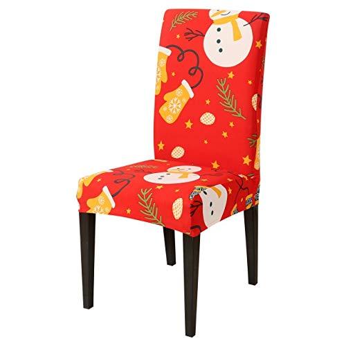 weiqiang 6 uds, Funda elástica elástica para Silla con Estampado navideño, Funda Protectora de Licra para Comedor, Fundas para sillas para Año Nuevo, decoración navideña, 6 uds.