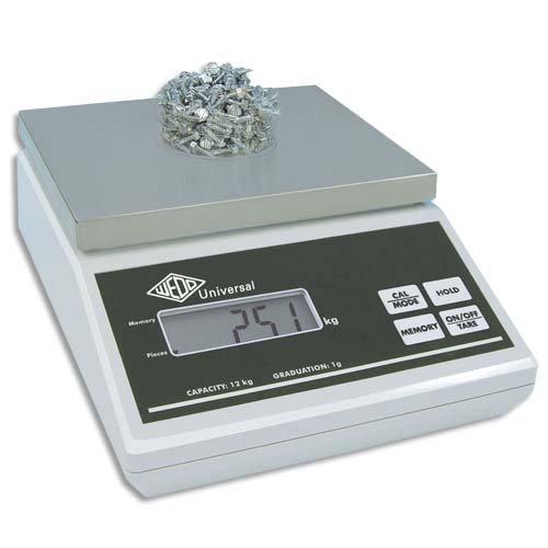 Wedo 507012 Universal Elektronische Wiege- und Stückzählwaag (12kg 12 kg/1g, mit EU-Netzgerät) grau
