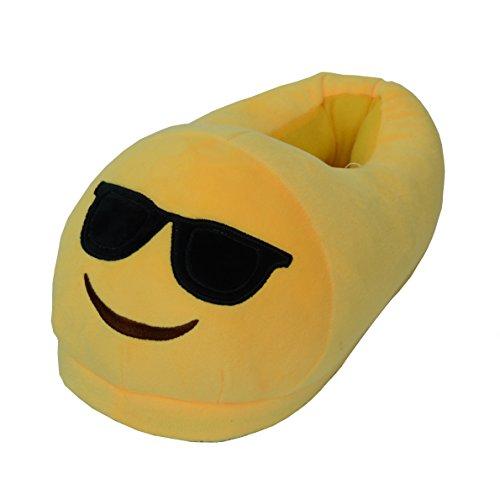 zicai Emoji Hausschuhe Kinder Junge Mädchen Derren Damen Winter Warme Plüsch Slipper Indoor Hause Pantoffeln Cartoon Smiley-Gesicht Winterschuhe Einheitsgröße EU 35-44 (Sunglasses)