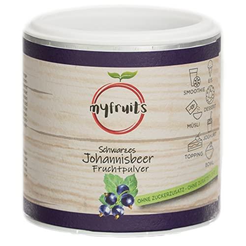 myfruits Johannisbeeren Fruchtpulver - ohne Zusätze, zu 100% aus Johannisbeeren, gefriergetrocknet, Frucht-Pulver für Smoothie, Shakes & Joghurt (200g)