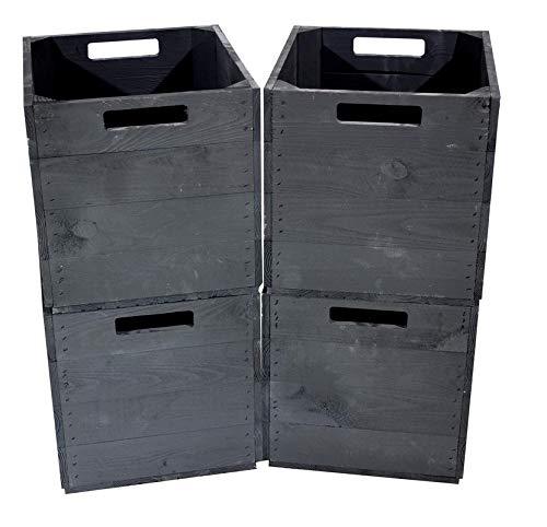 Kontorei® Zwarte houten kist voor Kallax planken 33 cm x 37,5 cm x 32,5 cm 1 serie van 2, 3, 4, 6, 8, 9, 12-delige set IKEA inzetkist Black Fach Fruitkist wijnkist opbergdoos Vintage Natuur