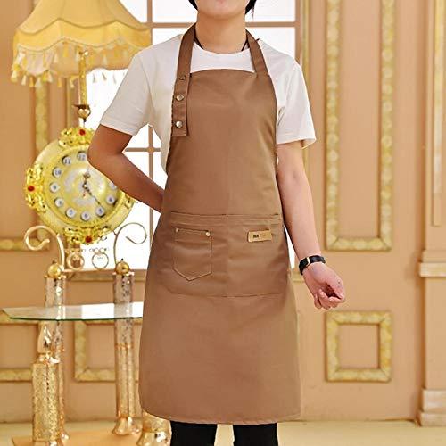 MLOPPTE Delantal antiincrustanteimpermeable del chefcon dos bolsillos Delantal de barbacoa de cocina de color sólido, delantal de tamaño ajustable de algodón caqui
