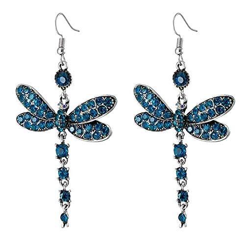 Pendientes De Borla Vintage Diamante Completo Pendiente De Insectos Multicolor Regalo De Joyería(Azul)