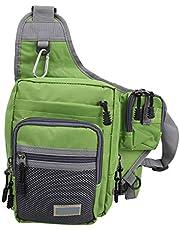 Mxzzand Bolsa de Ocio al Aire Libre con Bolsillo Delantero pequeño Bolsa Deportiva Bolsa de Aparejos de Pesca Bolsa de sillín de Caballero Accesorio de Pesca Multifuncional(Green)