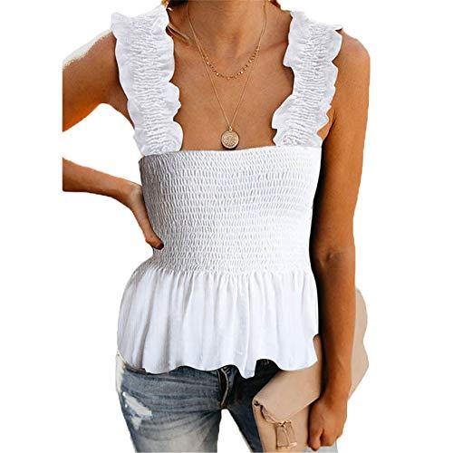 Chenlao7gou621 Sommerdruck Sling Plissee Weste Damen Oberbekleidung äRmelloses Top