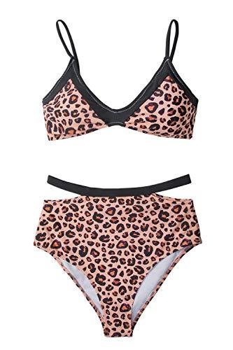 CUPSHE Damen Bikini Set Leoparden Bustier Bikinioberteil High Waist Cutout Strandmode Zweiteiliger Badeanzug Leodruck S
