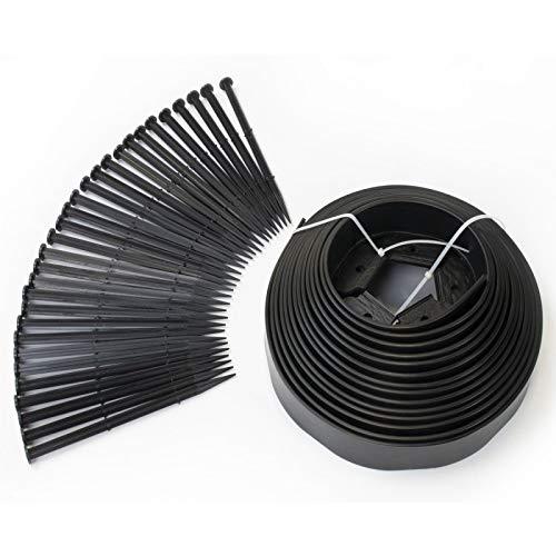IDMarket - Bordurette de Jardin Flexible 10 M Noire Hauteur 5 CM + 30 piquets