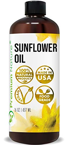 Sunflower Oil Cold Pressed - Sunflower Seed Oil Unrefined Sun Flower Oil Face Hair Skin Sunflower Essential Oil Pure Unrefined Sunflower Oil for Massage Oil Sunflower Vitamin E Oil