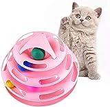 123 Life Cat Toys Torre de pistas Juguete de gato interactivo Bola de gato Juguete de gato giratorio Juguetes círculo pista con bolas móviles diversión interactiva adecuada para varios gatos (rosa)