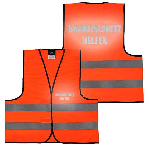 Warnweste Gelb Orange, beidseitig bedruckt auf Brust und Rücken Reflex mit Ordner, Security große Auswahl Motive Aufdrucke 019 Brandschutzhelfer (Orange) XL
