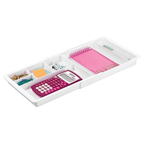 mDesign Adjustable, Expandable Divided Office Desk Drawer Organizer Tray for Office Supplies, Gel Pens, Pencils, Markers, Tape, Erasers, Paperclips, Staples - 7 Compartments, 1.25' High - White