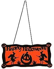 MAJFK Halloween voordeur decoraties buiten opknoping verticale teken Halloween decoratie welkom opknoping teken veranda decor, heks