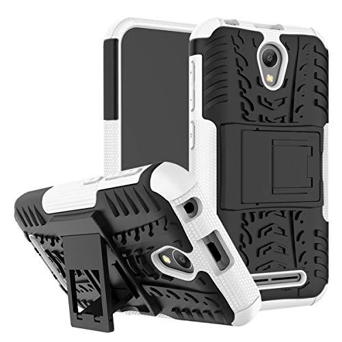 tinyue® Handyhülle für ZTE Blade L110 Hülle,Hyun-Muster mit Ständerprotektor PC+TPU Doppelstoßstange Anti-Kratz-Handyhülle Handykasten im Freien, Weiß