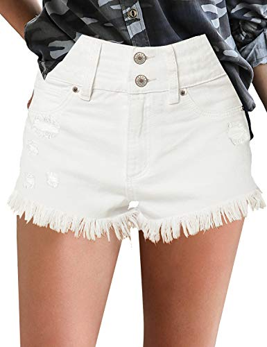luvamia Women's High Waist Denim Shorts Frayed Raw Hem Jean Shorts Casual Summer Shorts Beige, Size S