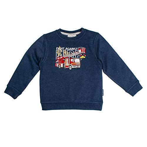 Salt & Pepper Jungen Fire Zone Motiv beidseitig Sweatshirt, Blau (Dark Blue Melange 492), 116 (Herstellergröße: 116/122)