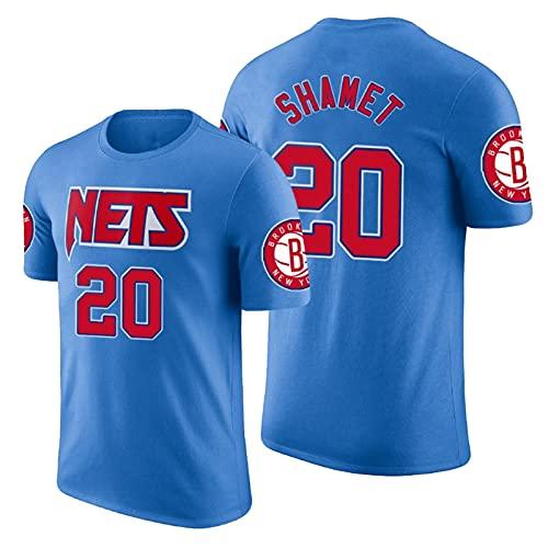 QJW Shamet Baloncesto Mangas Cortas Jersey Nets # 20 Retro Casual Sports City Version Malla Camiseta Adecuado para Fitness Training (S-2XL) 6-XXL