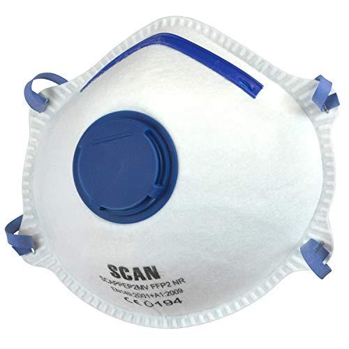 Scan PPEP2MVB - Maschera monouso con valvola per protezione dalle polveri FFP2 (confezione da 10)