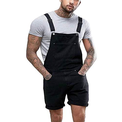 STRIR Peto Corto Hombre - Pantalones Cortos de Mezclilla Peto Vaquero para Hombre Pantalones Cortos de Mezclilla Verano Mono Jeans de Trabajo
