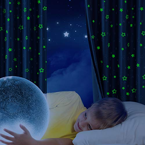 Hughapy Glow in The Dark Curtains Twinkle Star Blackout Curtains for Kid's Bedroom - Grommet Thermal Insulated Room Darkening Curtains Romantic Starry Theme Window Curtains, 2 Panels (52W x 63L, Navy)