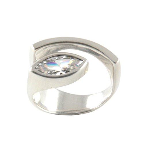 Silber Ring mit Zirkonia Goldschmiedearbeit (Sterlingsilber 925) - Silberring mit Zirkonia 12x6 mm - Zirkoniaring