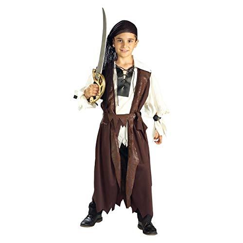 Elbenwald Pirat Freibeuter Kostüm für Kinder, 3-teiliges Komplett Kostüm für Karneval und Fasching - M