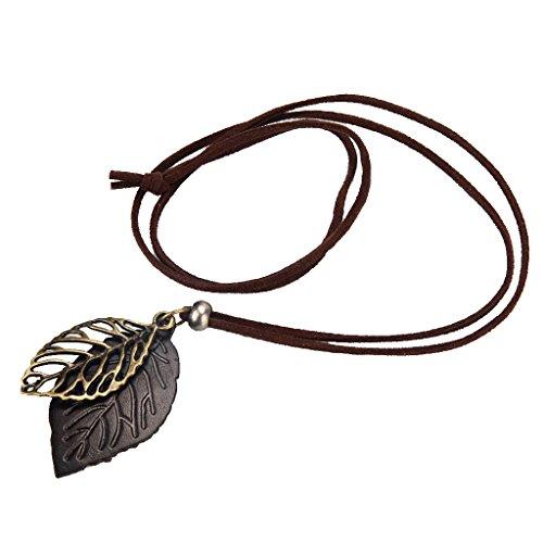 #N/A Collares De Colgantes De Hoja Grande De Aleación con Collar Llamativo De Cuero De PU Marrón - Marrón, Forma Dos Hojas 4.8x2.5 cm
