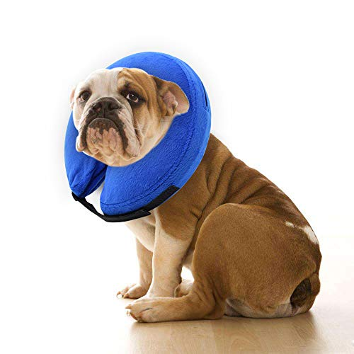 E-KOMG Dog Cone After Surgery, Protective Inflatable Collar, Blow Up Dog Collar, Pet Recovery Collar for Dogs and Cats Soft (X-Large(18' and up), Blue)