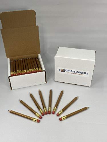 Half Pencils with Eraser - Golf, Classroom, Pew, Parties, Events, Short, Mini, Non Toxic, Hexagon, Sharpened, 2 Pencil, Color: Gold, Box of 72, (1/2 gross) Golf Pocket Pencils