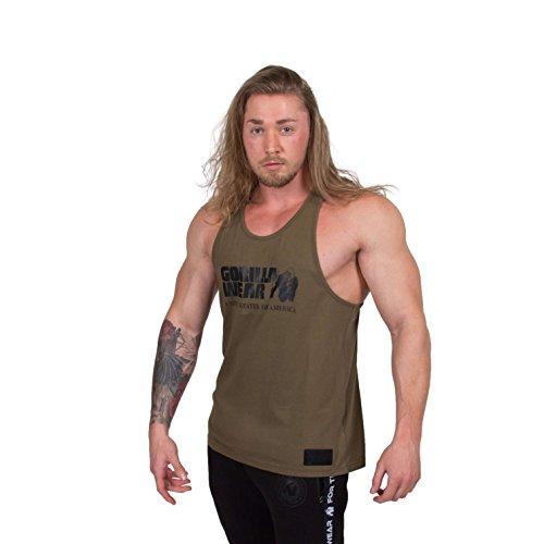 GORILLA WEAR Classic Tank Top - Armee Grün - Bodybuilding und Fitness Bekleidung Herren, L