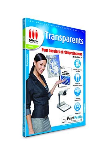 Feuille Transparente Imprimable pour Rétroprojecteur - 20 Films Polyester Transparents A4 pour Présentations et Dossiers, Impression Jet d'Encre aucune Encre Spéciale Requise - Micro Application