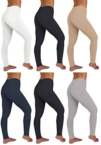Sexy Basics Womens 6 Pack Stretch Cotton Stretch Full Length Footless Legging Tights (Medium, 6 Pack -Black/Nude/White/Charcoal/Navy/Grey)
