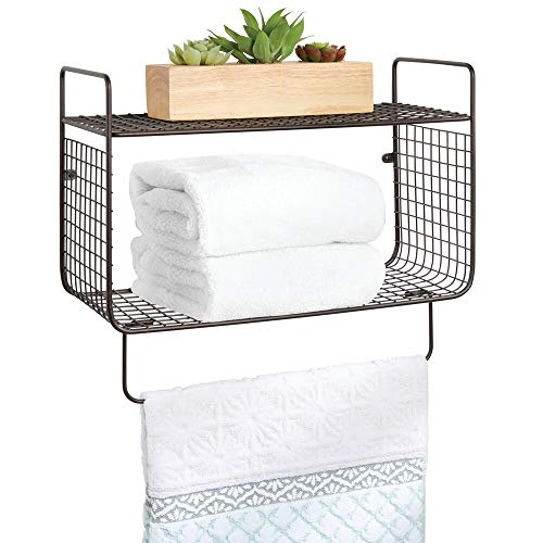 mDesign Repisa de baño – Estante de pared con dos baldas para guardar champú, sales de baño, cosméticos y otros utensilios de baño – Práctico estante con toallero – color bronce