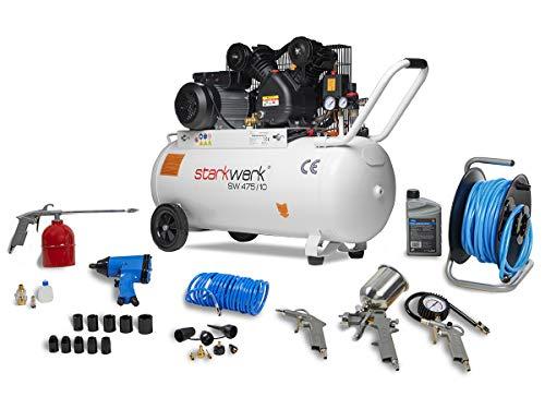 2200 Watt 230 V 10 Bar 100 l Kessel Keilriemenantrieb Druckluftkompressor Luftkompressor Kompressor Compressor Starkwerk SW 475/10 Schlagschrauber Schlauchtrommel...