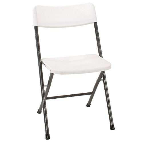 Cosco Resin Folding Chair with Molded Seat and Back, 4 Pack, White/Pewter