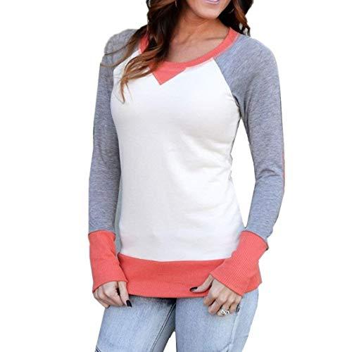 Damen Kontrastfarbe Baumwoll Sweatshirt Basic Jumper Mit Ellenbogen Patch Shirt Kleidung Langarm Rundhals T-Shirt Tops Bluse (Color : Orange, Size : S)