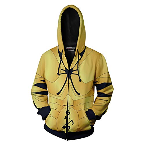 Unisexe Fate/Stay Night Cosplay Hoodie, Sabre/Archer Impression 3D Sweat à Capuche Veste Zipper (Color : Archer - Gilgamesh, Size : Large)