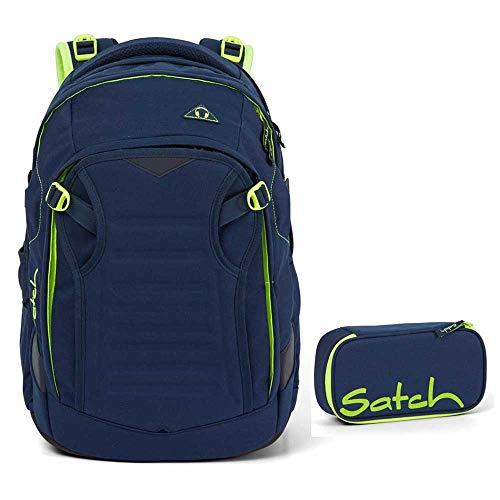 Satch Match Schulrucksack-Set 2tlg: Schulrucksack und Schlamperbox (Toxic Yellow)
