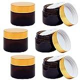 6 pezzi 30ml vasetto di crema vuoto bottiglia di vetro ambrato contenitore vuoto riutilizzabile vasetto di vetro marrone con coperchio e rivestimento vasetto per creme cosmetiche